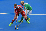 ENG - London, England, August 29: During the men bronze medal match between Ireland (green) and England (red) on August 29, 2015 at Lee Valley Hockey and Tennis Centre, Queen Elizabeth Olympic Park in London, England. Final score 4-2 (2-2). (Photo by Dirk Markgraf / www.265-images.com) *** Local caption *** Dan FOX #27 of England, Michael WATT #7 of Ireland
