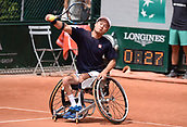 8th June 2017, Roland Garros, Paris, France; French Open tennis championships, mens wheelchair singles;  Shingo Kunieda (Jap) plays Stephane Houdet (Fra)