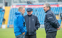 Picture by Allan McKenzie/SWpix.com - 13/04/2018 - Cricket - Specsavers County Championship - Yorkshire County Cricket Club v Essex County Cricket Club - Emerald Headingley Stadium, Leeds, England - Umpire Ian Gould talks to groundsman Andy Foggarty and fellow umpire Richard Illingworth about abandoning play on the opening day of the Specsavers County Championship at Headingley.