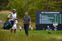 Jordan Spieth (USA) shares a laugh with his caddie on 5 during round 4 of the 2019 PGA Championship, Bethpage Black Golf Course, New York, New York,  USA. 5/19/2019.<br /> Picture: Golffile | Ken Murray<br /> <br /> <br /> All photo usage must carry mandatory copyright credit (© Golffile | Ken Murray)