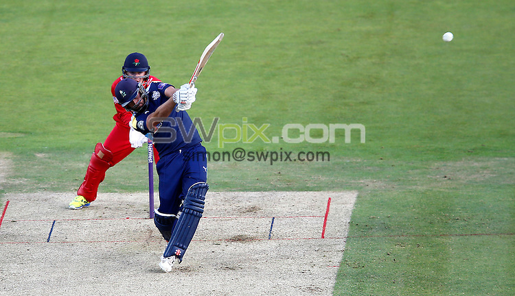 Picture by John Clifton/SWpix.com - 01/07/2016 - Cricket - NatWest T20 Blast - Yorkshire Vikings v Lancashire Lightning - Headingley Cricket Ground, Leeds, England -<br /> Jack Leaning  of Yorkshire Vikings hits a four
