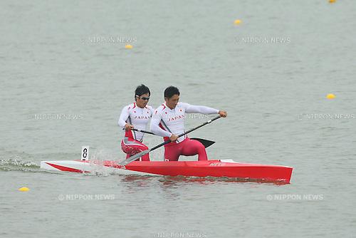Kaito Nagai &amp; Takayuki Kokaji (JPN), <br /> SEPTEMBER 29, 2014 - Canoe Sprint : <br /> Men's Canoe Double 1000m Final <br /> at Hanam Misari Canoe/Kayak Center <br /> during the 2014 Incheon Asian Games in Incheon, South Korea. <br /> (Photo by YUTAKA/AFLO SPORT)