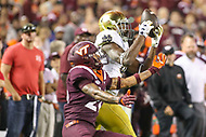 Blacksburg, VA - October 6, 2018: Notre Dame Fighting Irish wide receiver Miles Boykin (81) catches a pass during the game between Notre Dame and VA Tech at  Lane Stadium in Blacksburg, VA.   (Photo by Elliott Brown/Media Images International)