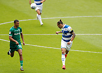 11th July 2020; The Kiyan Prince Foundation Stadium, London, England; English Championship Football, Queen Park Rangers versus Sheffield Wednesday; Geoff Cameron of Queens Park Rangers heads the ball over Alessio da Cruz of Sheffield Wednesday