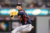 19 March 2009: #28 Satoshi Komatsu of Japan pitches against Korea during the 2009 World Baseball Classic Pool 1 game 6 at Petco Park in San Diego, California, USA. Japan wins 6-2 over Korea.