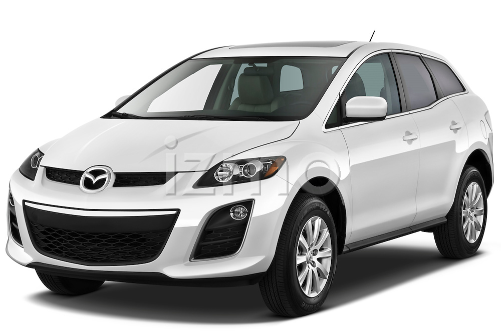 Front three quarter view of a 2010 Mazda CX7i Sport.