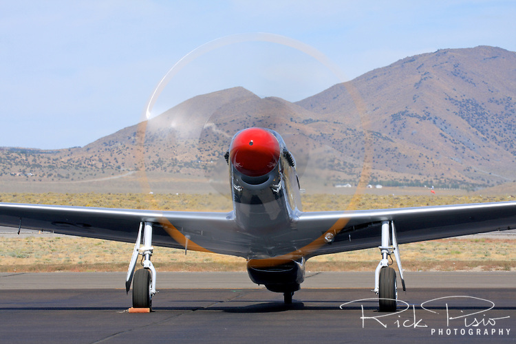 A P-51 Mustang does an engine run up prior to racing at the Reno National Championship Air Races.