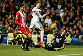 18th March 2018, Santiago Bernabeu, Madrid, Spain; La Liga football, Real Madrid versus Girona; Cristiano Ronaldo (Real Madrid) scores to make it (2-1)