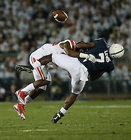 Penn State Lion Eugene Lewis is knocked away from recovering the ball by Ohio State Buckeyes cornerback Armani Reeves (26) in the second quarter of their game at Beaver Stadium in State College, PA on October 25, 2014. (Columbus Dispatch photo by Brooke LaValley)