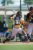 Pittsburgh Pirates catcher Raul Hernandez (92) throws down to second with Alfredo Reyes (12) hitting during an Instructional League Intrasquad Black & Gold game on September 20, 2016 at Pirate City in Bradenton, Florida.  (Mike Janes/Four Seam Images)