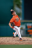 Baltimore Orioles pitcher DL Hall (39) delivers a pitch during an Instructional League game against the Tampa Bay Rays on October 5, 2017 at Ed Smith Stadium in Sarasota, Florida.  (Mike Janes/Four Seam Images)