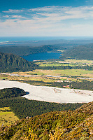 Lake Mapourika in distance and Franz Josef Glacier village on right as seen from Alex Knob track, Westland NP, West Coast, New Zealand