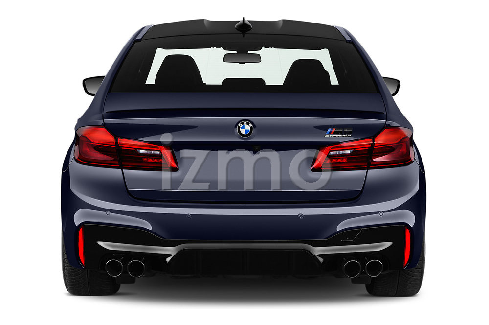 Straight rear view of a 2019 BMW M5 Competition Base 4 Door Sedan stock images