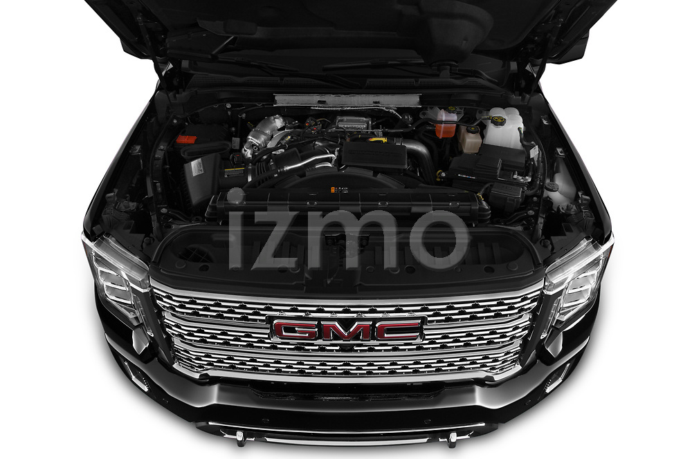 Car Stock 2020 GMC Sierra-2500-HD Denali 4 Door Pick-up Engine  high angle detail view