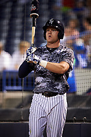 Tampa Yankees center fielder Trey Amburgey (17) on deck during a game against the Bradenton Marauders on April 15, 2017 at George M. Steinbrenner Field in Tampa, Florida.  Tampa defeated Bradenton 3-2.  (Mike Janes/Four Seam Images)