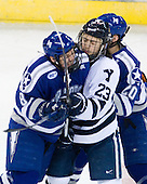 Scott Kozlak (Air Force - 8), Kevin Peel (Yale - 23), Tony Thomas (Air Force - 20) - The Yale University Bulldogs defeated the Air Force Academy Falcons 2-1 (OT) in their East Regional Semi-Final matchup on Friday, March 25, 2011, at Webster Bank Arena at Harbor Yard in Bridgeport, Connecticut.