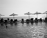 SRI LANKA, Asia, Colombo, lounge chairs arranged at Galle Face Hotel (B&W)
