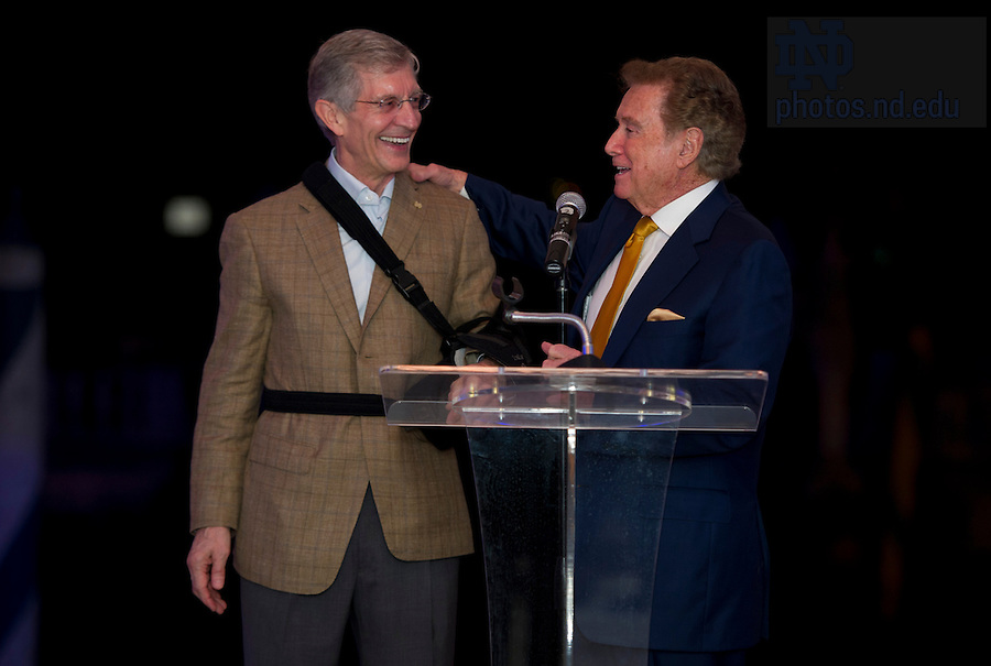 Jan 6, 2013; Provost Tom Burish and former TV host Regis Philbin share a laugh during dinner at Villa Vizcaya in Miami. Photo by Barbara Johnston/University of Notre Dame..