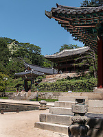 Pavillon Juhamnu und Yeonghwadang am Buyongji-Teich im Secret Garden = Huwon= Biwon des Changdeokgung Palast, Seoul, S&uuml;dkorea, Asien, UNESCO-Weltkulturerbe<br /> pavilion Juhamnu and Yeonghwadang at Buyongji-pond  in the secret garden of  palace Changdeokgung,  Seoul, South Korea, Asia UNESCO world-heritage