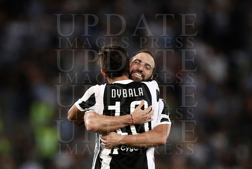 Calcio, Football - Juventus vs Lazio Italian Super Cup Final  <br /> Juventus' Paulo Dybala celebrates after scoring with his teammates Gonzalo Higuain during the  Italian Super Cup Final football match between Juventus and Lazio at Rome's Olympic stadium, on August 13, 2017.<br /> UPDATE IMAGES PRESS/Isabella Bonotto