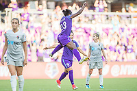 Orlando, FL - Sunday May 14, 2017: Jasmyne Spencer celebrates goal during a regular season National Women's Soccer League (NWSL) match between the Orlando Pride and the North Carolina Courage at Orlando City Stadium.
