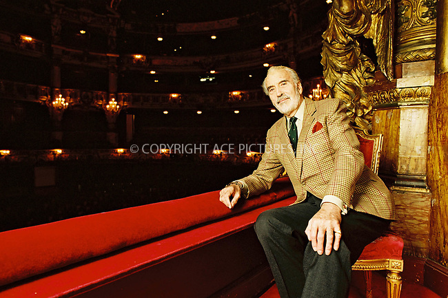 *USA AND CANADA RIGHTS*     ..        ..Actor CHRISTOPHER LEE at the Opera House in Brussels, Belgium. April 2002. Mr. Lee turns 80 on May 27. REF: PRSP2039.  Byline NY Photo Press.   ..*PAY-PER-USE*      ....NY Photo Press:  ..phone (646) 267-6913;   ..e-mail: info@nyphotopress.com