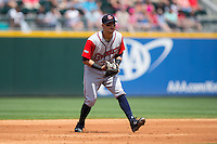 Gwinnett Braves third baseman Rio Ruiz (24) on defense against the Charlotte Knights at BB&T BallPark on May 22, 2016 in Charlotte, North Carolina.  The Knights defeated the Braves 9-8 in 11 innings.  (Brian Westerholt/Four Seam Images)