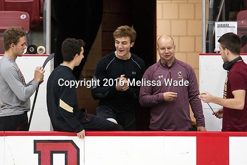 Graham McPhee (BC - 27), Matthew Gaudreau (BC - 21), Chris Calnan (BC - 11), John Hegarty (BC - Director-HockeyOps), Ryan Fitzgerald (BC - 19) - The Harvard University Crimson defeated the visiting Boston College Eagles 5-2 on Friday, November 18, 2016, at the Bright-Landry Hockey Center in Boston, Massachusetts.