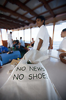 "November 25th, 2008_MALDIVES_ ""No news No shoes,"" is the slogan at the Soneva Fushi resort island and the Baa Atoll in the Maldives.  Soneva Fushi is a leader in green practices and plans to be carbon neutral by 2010 by implementing projects such as a deep-sea water cooling system to replace it's traditional air conditioners.  Photographer: Daniel J. Groshong/Tayo Photo Group"
