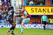 10th September 2017, Turf Moor, Burnley, England; EPL Premier League football, Burnley versus Crystal Palace; Chris Wood of Burnley and Timothy Fosu-Mensah of Crystal Palace tussle for the ball