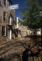 Charleston, South Carolina, SC, Historic houses along a narrow cobblestone street in Charleston in the spring.
