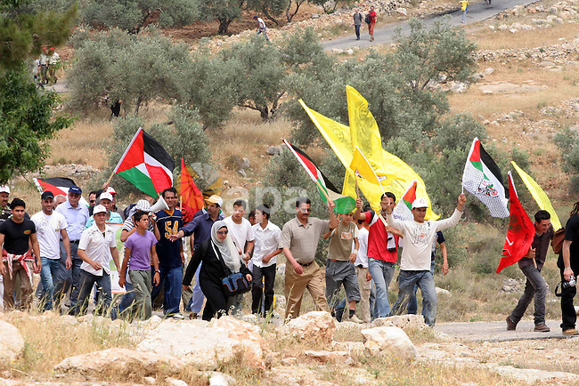 Palestinian demonstrators attend a protest against Israel's separation barrier in the West Bank village of Bilin, near Ramallah. Israel says the barrier is necessary for security while Palestinians call it a land grab.
