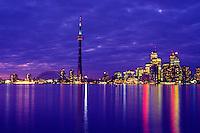 Night falls on the city of Toronto, Ontario, Canada.