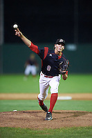 Batavia Muckdogs relief pitcher Paker Bugg (8) during the second game of a doubleheader against the Mahoning Valley Scrappers on August 17, 2016 at Dwyer Stadium in Batavia, New York.  Batavia defeated Mahoning Valley 5-3. (Mike Janes/Four Seam Images)