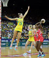 02.08.2017 England's Kadeen Corben and Australia's Courtney Bruce in action during a netball match between Australia and England at the Brisbane Entertainment Centre in Brisbane Australia. Mandatory Photo Credit ©Michael Bradley.
