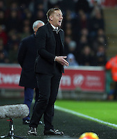 Swansea City manager Garry Monk gestures in frustration on the touchline during the Barclays Premier League match between Swansea City and Leicester City played at The Liberty Stadium on 5th December 2015