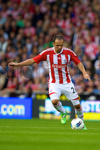 28.07.2011. 2011 UEFA Europa League, Stoke, England, Stoke  City v HNK Hajduk Split. Matthew Etherinton in action.