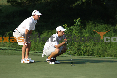 University of Texas redshirt senior Jonathan Schnitzer lines up his putt during the Carpet Capital Collegiate at The Farm Golf Club in Rocky Face, Ga., on Saturday, Sept. 7. The Longhorns return to The Farm as defending champions after shooting a 13-under 851 in 2012.<br /> <br /> Photo by Patrick Smith