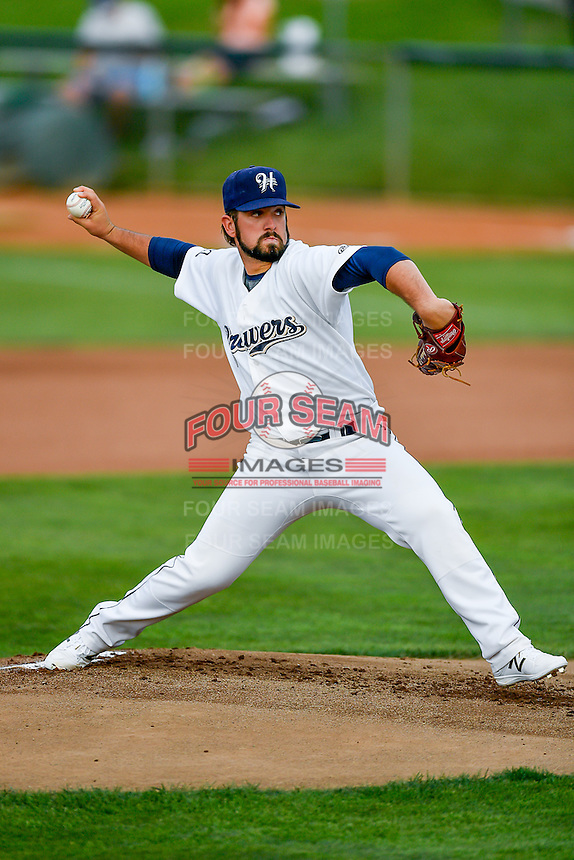 Pioneer League All-Star starting pitcher Jordan Desguin (22) of the Helena Brewers delivers a pitch to the plate against the Northwest League All-Stars at the 2nd Annual Northwest League-Pioneer League All-Star Game at Lindquist Field on August 2, 2016 in Ogden, Utah. The Northwest League defeated the Pioneer League 11-5. (Stephen Smith/Four Seam Images)