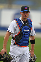 March 21, 2010:  Catcher Chris Coste (3) of the New York Mets during a Spring Training game at Tradition Field in St. Lucie, FL.  Photo By Mike Janes/Four Seam Images
