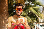 Gold Jersey wearer Loic Chetout (FRA) Cofidis fighting fit at sign on before the start of Stage 4 of the 2018 Tour of Oman running 117.5km from Yiti (Al Sifah) to Ministry of Tourism. 16th February 2018.<br /> Picture: ASO/Muscat Municipality/Kare Dehlie Thorstad   Cyclefile<br /> <br /> <br /> All photos usage must carry mandatory copyright credit (&copy; Cyclefile   ASO/Muscat Municipality/Kare Dehlie Thorstad)