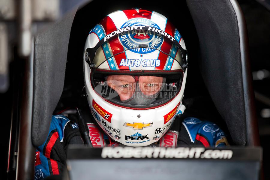 Nov 15, 2019; Pomona, CA, USA; NHRA funny car driver Robert Hight during qualifying for the Auto Club Finals at Auto Club Raceway at Pomona. Mandatory Credit: Mark J. Rebilas-USA TODAY Sports