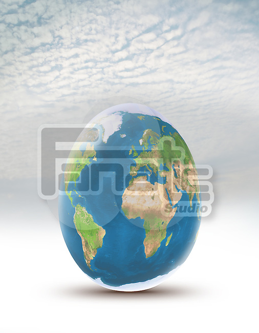 Illustrative image of globe impression on an egg