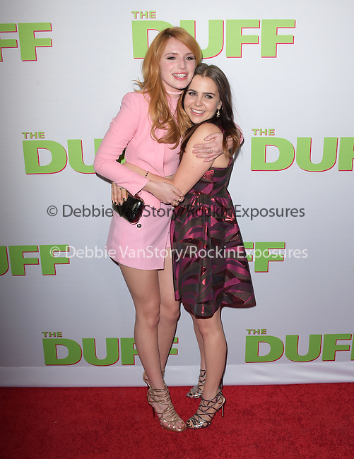 Bella Thorne and Mae Whitman attends The CBS Films Los Angeles fan screening of THE DUFF held at The TCL Chinese 6 Theater  in Hollywood, California on February 12,2015                                                                               © 2015 Hollywood Press Agency
