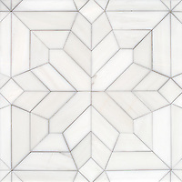Dominic, a hand-cut stone mosaic, shown in polished Dolomite, is part of the Semplice™ collection for New Ravenna.