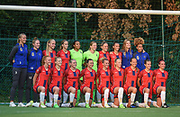 20170825 - WONDELGEM , BELGIUM : Team of VV Alkmaar withPaulina Quaye (1)  ,  Jasmijn Duppen (2)  ,  Amber Wuring (4)  ,  Ingrid Schuiten (6)  ,  Sanne van der Velden (7)  ,  Amy Visser (8)  ,  Katja Snoeijs (9)  ,  Kerstin Casparij (10)  ,  Simone Kets (10)  ,  Anna Knol (13)  ,  Niekie Pellens (23) ,  Nicolle Martens (16)  ,  Jamie Altelaar (5)  ,  Simone Hand (18)  ,  Cherise Schelts (R up)   pictured during a friendly game between KAA Gent Ladies and VV Alkmaar  during the preparations for the 2017-2018 season , Friday 25 August  2017 ,  PHOTO Dirk Vuylsteke | Sportpix.Be