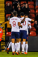 England celebrate the winning goal during the International Euro U21 Qualification match between England U21 and Ukraine U21 at Bramall Lane, Sheffield, England on 27 March 2018. Photo by Stephen Buckley / PRiME Media Images.