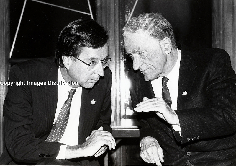 Sept 31 1988 File Photo - Robert Bourassa (L) and Claude Ryan, Education Minister (R)