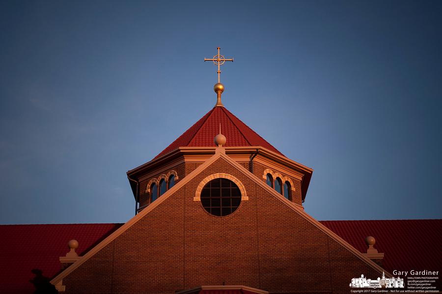 St. Paul Catholic Church new building at sunset.