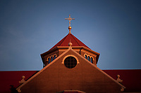 St. Paul Catholic Church new building at sunset.